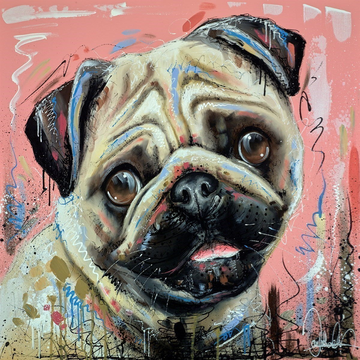 Pug Life by Samantha Ellis -  sized 30x30 inches. Available from Whitewall Galleries
